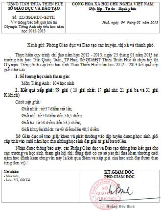 Thông báo kết quả hội thi Olympic Tiếng Anh cấp tiểu học năm học 2012-2013